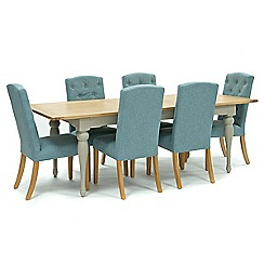 Willis & Gambier - Oak and painted 'Worcester' large extending table and 6 blue 'Stanza' chairs