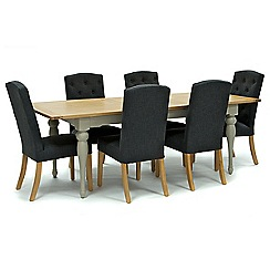 Willis & Gambier - Oak and painted 'Worcester' large extending table and 6 grey 'Stanza' chairs