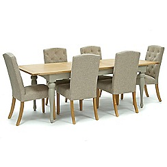 Willis & Gambier - Oak and painted 'Worcester' large extending table and 6 beige 'Stanza' chairs