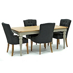 Willis & Gambier - Oak and painted 'Worcester' large extending table and 4 grey 'Paris' chairs