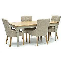 Willis & Gambier - Oak and painted 'Worcester' large extending table and 4 beige 'Paris' chairs