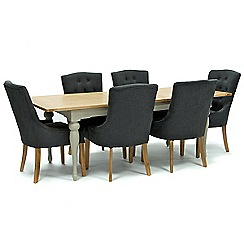 Willis & Gambier - Oak and painted 'Worcester' large extending table and 6 grey 'Paris' chairs
