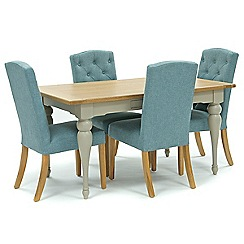 Willis & Gambier - Oak and painted 'Worcester' fixed-top table and 4 blue 'Stanza' chairs