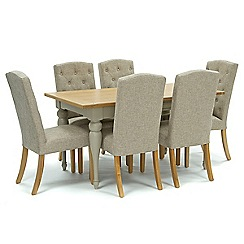 Willis & Gambier - Oak and painted 'Worcester' fixed-top table and 6 beige 'Stanza' chairs