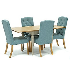 Willis & Gambier - Oak and painted 'Worcester' flip-top table and 4 blue 'Stanza' chairs