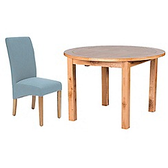 Willis & Gambier - Oak 'Normandy' round extending table and 4 blue 'Fletton' chairs