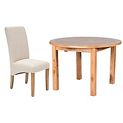 Willis & Gambier - Oak 'Normandy' round extending table and 4 natural 'Fletton' chairs