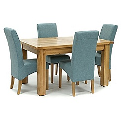 Willis & Gambier - Oak 'Normandy' small extending table and 4 blue 'Fletton' chairs