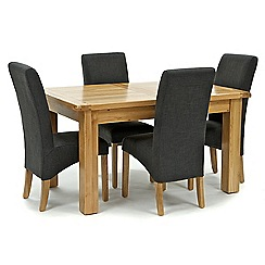 Willis & Gambier - Oak 'Normandy' small extending table and 4 grey 'Fletton' chairs