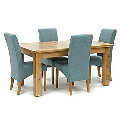 Willis & Gambier - Oak 'Normandy' large extending table and 4 blue 'Fletton' chairs