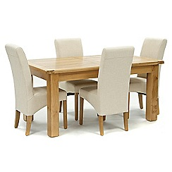 Willis & Gambier - Oak 'Normandy' large extending table and 4 natural 'Fletton' chairs