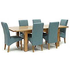 Willis & Gambier - Oak 'Normandy' large extending table and 6 blue 'Fletton' chairs