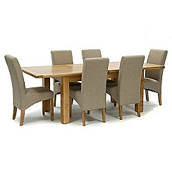 Willis & Gambier - Oak 'Normandy' large extending table and 6 beige 'Fletton' chairs