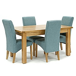 Willis & Gambier - Oak 'Normandy' fixed-top table and 4 blue 'Fletton' chairs