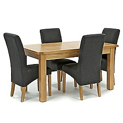 Willis & Gambier - Oak 'Normandy' fixed-top table and 4 grey 'Fletton' chairs