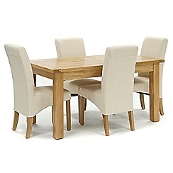 Willis & Gambier - Oak 'Normandy' fixed-top table and 4 natural 'Fletton' chairs