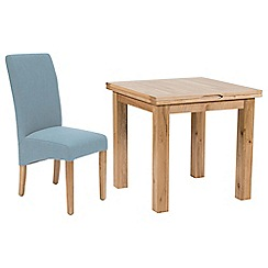 Willis & Gambier - Oak 'Normandy' flip-top table and 4 blue 'Fletton' chairs