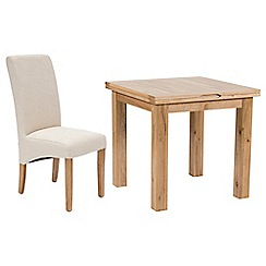 Willis & Gambier - Oak 'Normandy' flip-top table and 4 natural 'Fletton' chairs