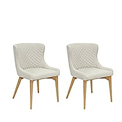 Willis & Gambier - Pair of beige 'Angelo' quilted upholstered dining chairs with oak legs