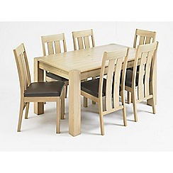 Debenhams - Oak 'Turin' large extending table and 6 slatted back chairs
