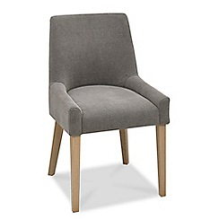Debenhams - Pair of grey 'Turin' upholstered scoop back dining chairs with oak legs