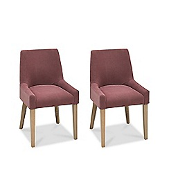 Debenhams - Pair of purple 'Turin' upholstered scoop back dining chairs with oak legs