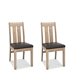 Debenhams - Pair of oak 'Turin' slatted back dining chairs with leather seat pad