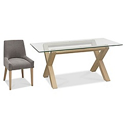 Debenhams - Oak and glass 'Turin' table and 4 grey scoop back chairs