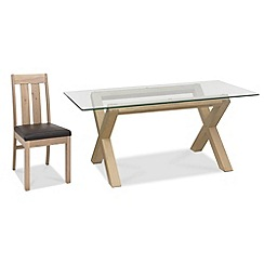 Debenhams - Oak and glass 'Turin' table and 4 slatted back chairs