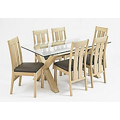 Debenhams - Oak and glass 'Turin' table and 6 slatted back chairs
