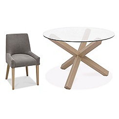 Debenhams - Oak and glass 'Turin' round table and 4 grey scoop back chairs