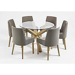 Debenhams - Oak and glass 'Turin' round table and 6 grey scoop back chairs