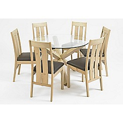 Debenhams - Oak and glass 'Turin' round table and 6 slatted back chairs