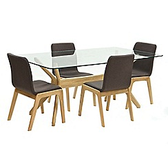 Willis & Gambier - Oak 'Willow' glass-top table and 4 brown upholstered chairs