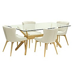 Willis & Gambier - Oak 'Willow' glass-top table and 4 beige 'Angelo' chairs