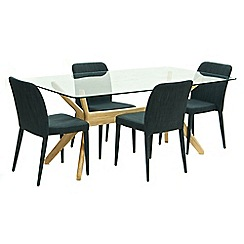 Willis & Gambier - Oak 'Willow' glass-top table and 4 grey 'Emilio' chairs