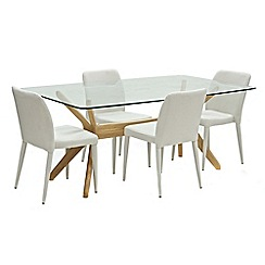 Willis & Gambier - Oak 'Willow' glass-top table and 4 beige 'Emilio' chairs