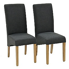 Willis & Gambier - Pair of grey 'Fletton' upholstered dining chairs with oak legs