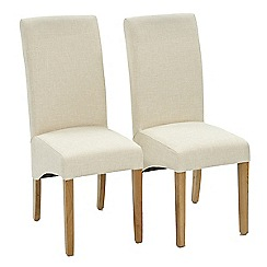 Willis & Gambier - Pair of natural 'Fletton' upholstered dining chairs with oak legs