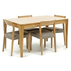 RJR.John Rocha - Oak 'Efni' small extending dining table and 4 light grey chairs