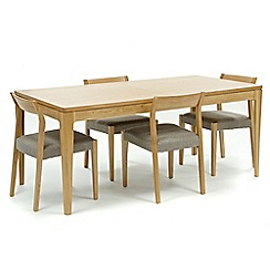 RJR.John Rocha - Oak 'Efni' large extending dining table and 4 light grey chairs