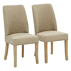 Willis & Gambier - Pair of beige 'Porto' upholstered dining chairs
