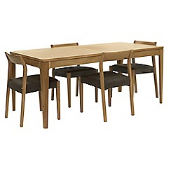 RJR.John Rocha - Oak 'Efni' large extending dining table and 4 dark grey chairs