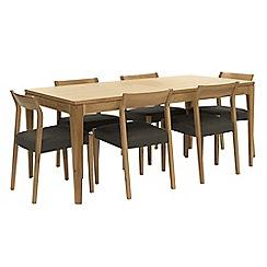 RJR.John Rocha - Oak 'Efni' large extending dining table and 6 dark grey chairs