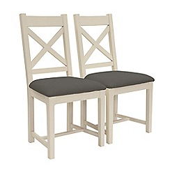 Willis & Gambier - Pair of 'Newquay' cross back dining chairs with grey fabric seats