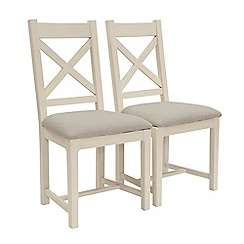 Willis & Gambier - Pair of 'Newquay' cross back dining chairs with light grey fabric seats