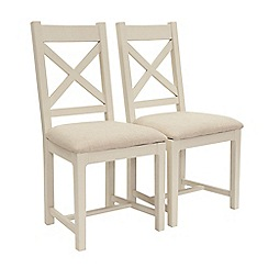 Willis & Gambier - Pair of 'Newquay' cross back dining chairs with beige fabric seats