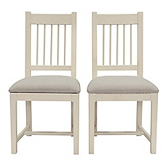 Willis & Gambier - Pair of 'Newquay' spindle back dining chairs with light grey fabric seats