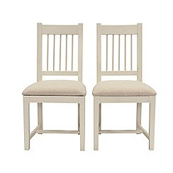Willis & Gambier - Pair of 'Newquay' spindle back dining chairs with beige fabric seats