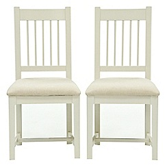 Willis & Gambier - Pair of 'Newquay' spindle back dining chairs with cream fabric seats